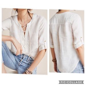 Anthropologie NWT Maeve Marva Lace-Up Linen Blouse